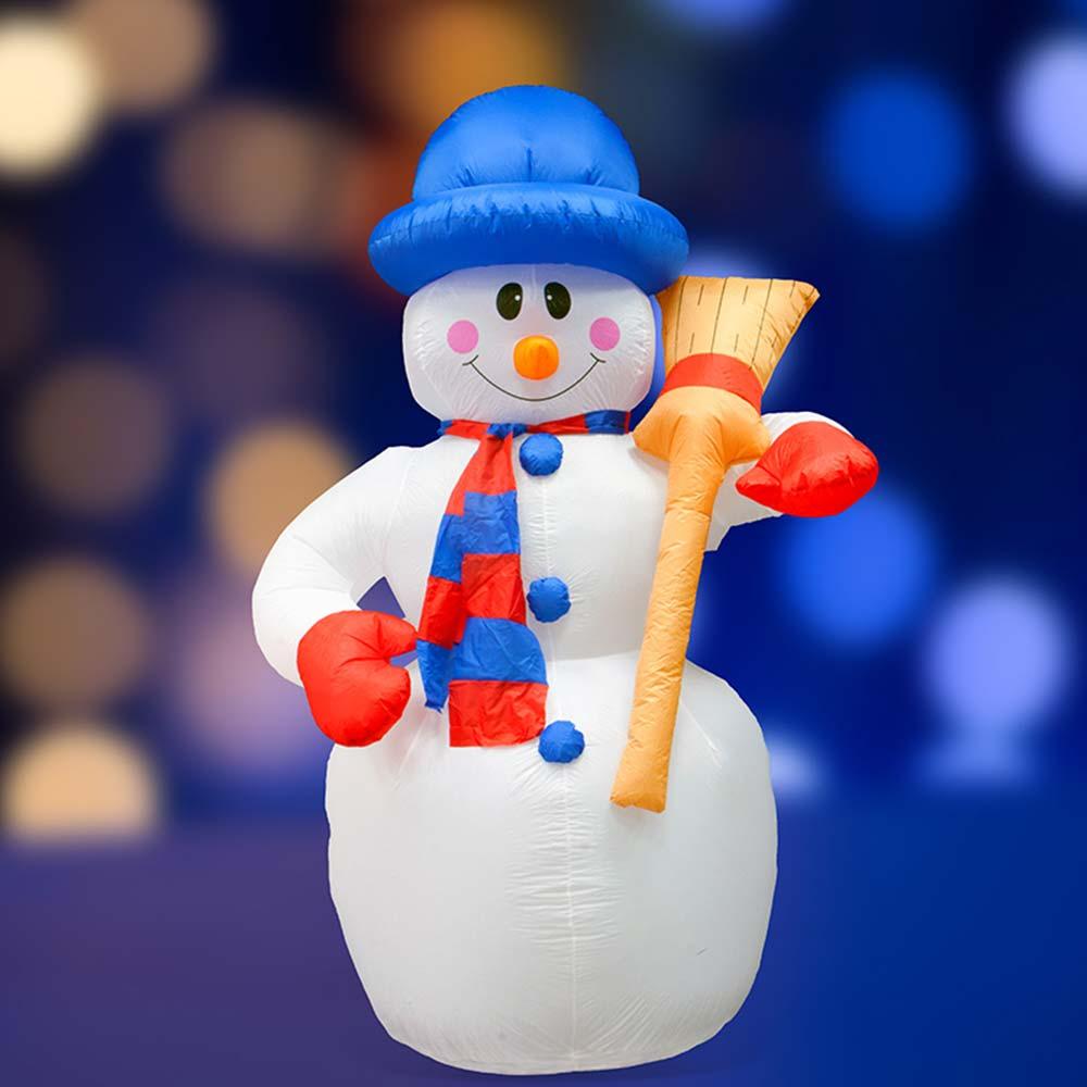 Украшение надувное Снеговик с метлой 240