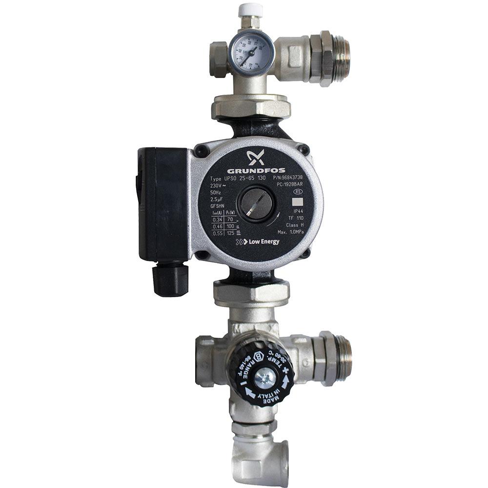 Насосно-смесительный узел для теплого пола Stout с термостатическим клапаном и насосом Grundfos UPSO 25-65 130