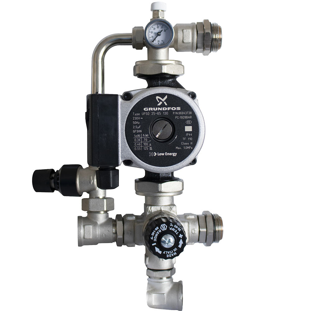 Насосно-смесительный узел для теплого пола Stout с термостатическим клапаном, байпасом и насосом Grundfos UPSO 25-65 130