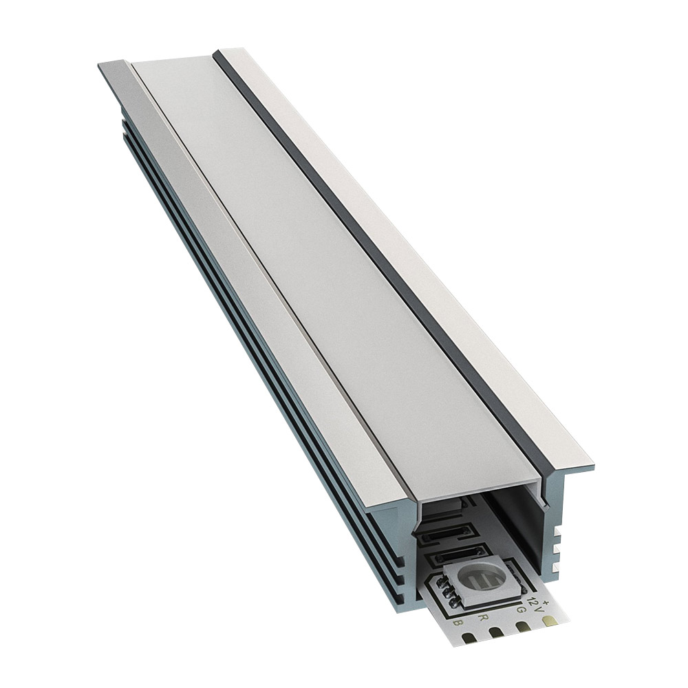 Профиль для светодиодной ленты OGM P8-12 2 м прямой врезной анодированный алюминий комплект