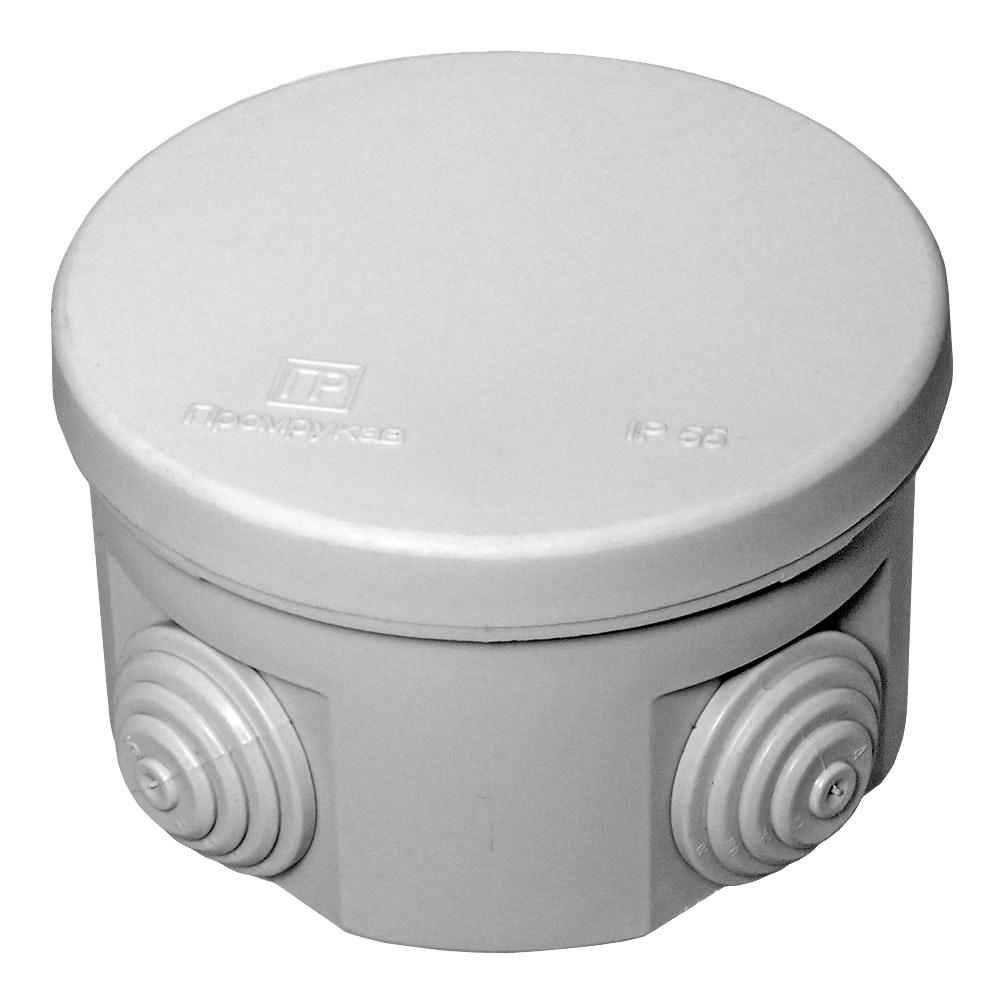 Коробка распределительная Промрукав для открытой установки d90х55 мм 4 ввода серая IP55 безгалогенная фото