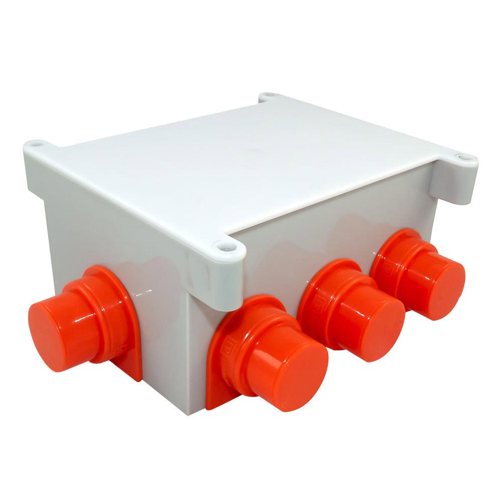 Коробка распределительная Промрукав для заливки бетоном 118x76x60 мм 8 вводов серая IP44 с крышкой безгалогенная фото