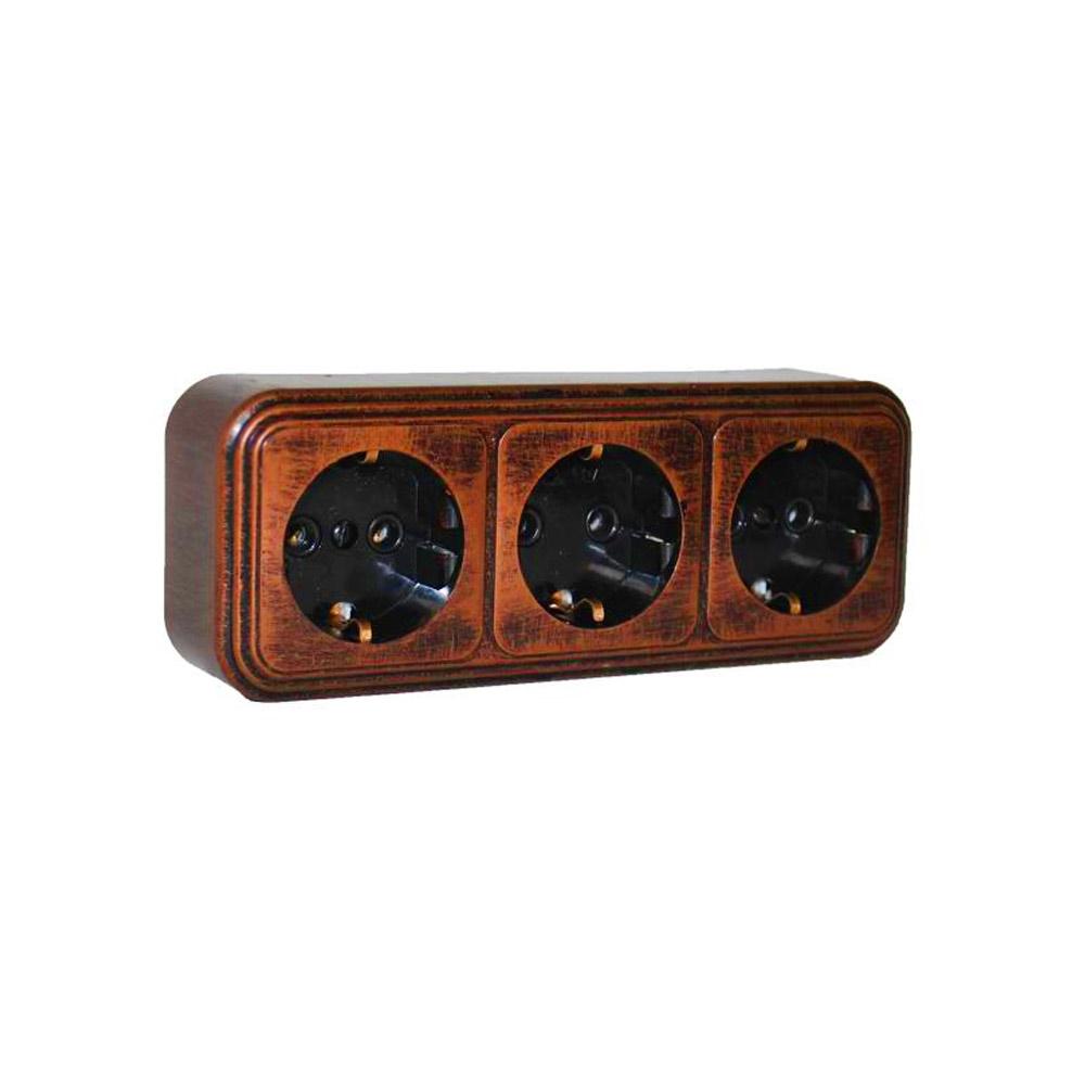 цена Розетка Lavelly Antico тройная RA16-365-C открытая установка медь с заземлением
