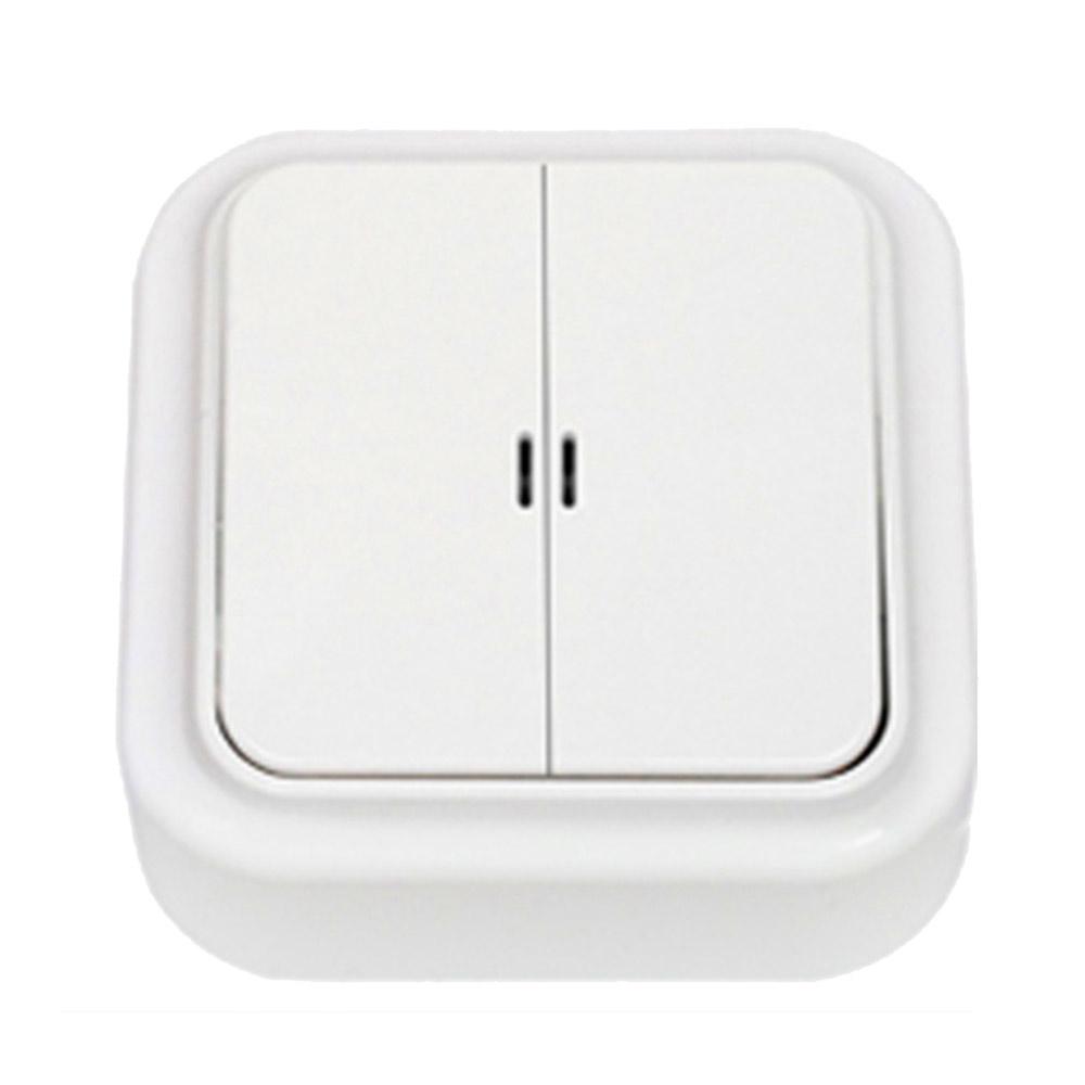 Выключатель SVET двухклавишный открытая установка белый с подсветкой фото