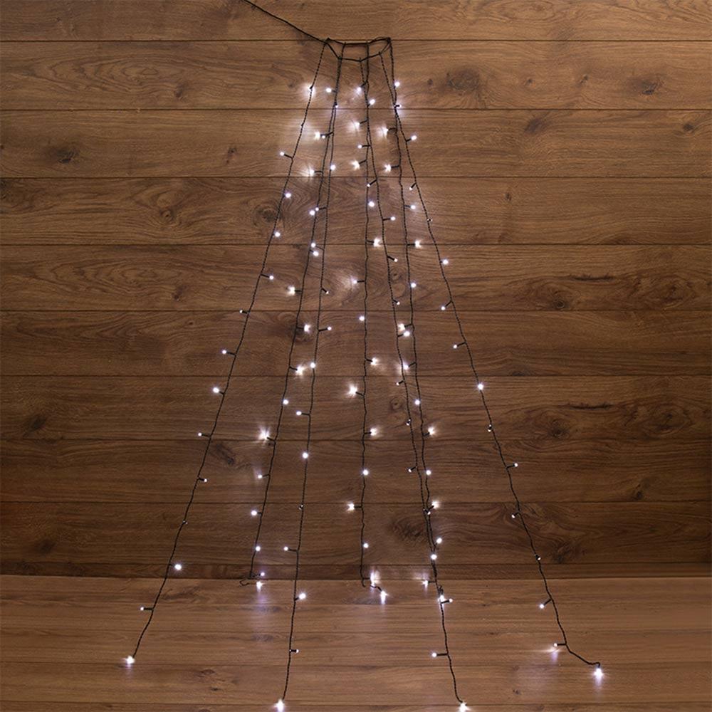 Гирлянда светодиодная Neon-Night для новогодней ели 105 LED свечение белое 7х1,5 м с кольцом (235-075)
