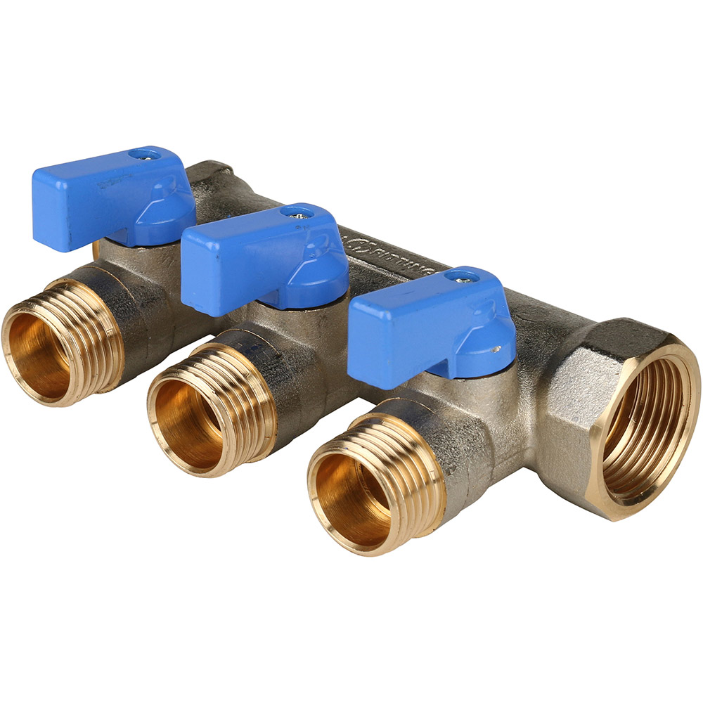 Коллектор Stout (SMB 6201 341203) 3/4 ВР(г) х 3 выхода 1/2 НР(ш) х 3/4 НР(ш) с шаровыми кранами