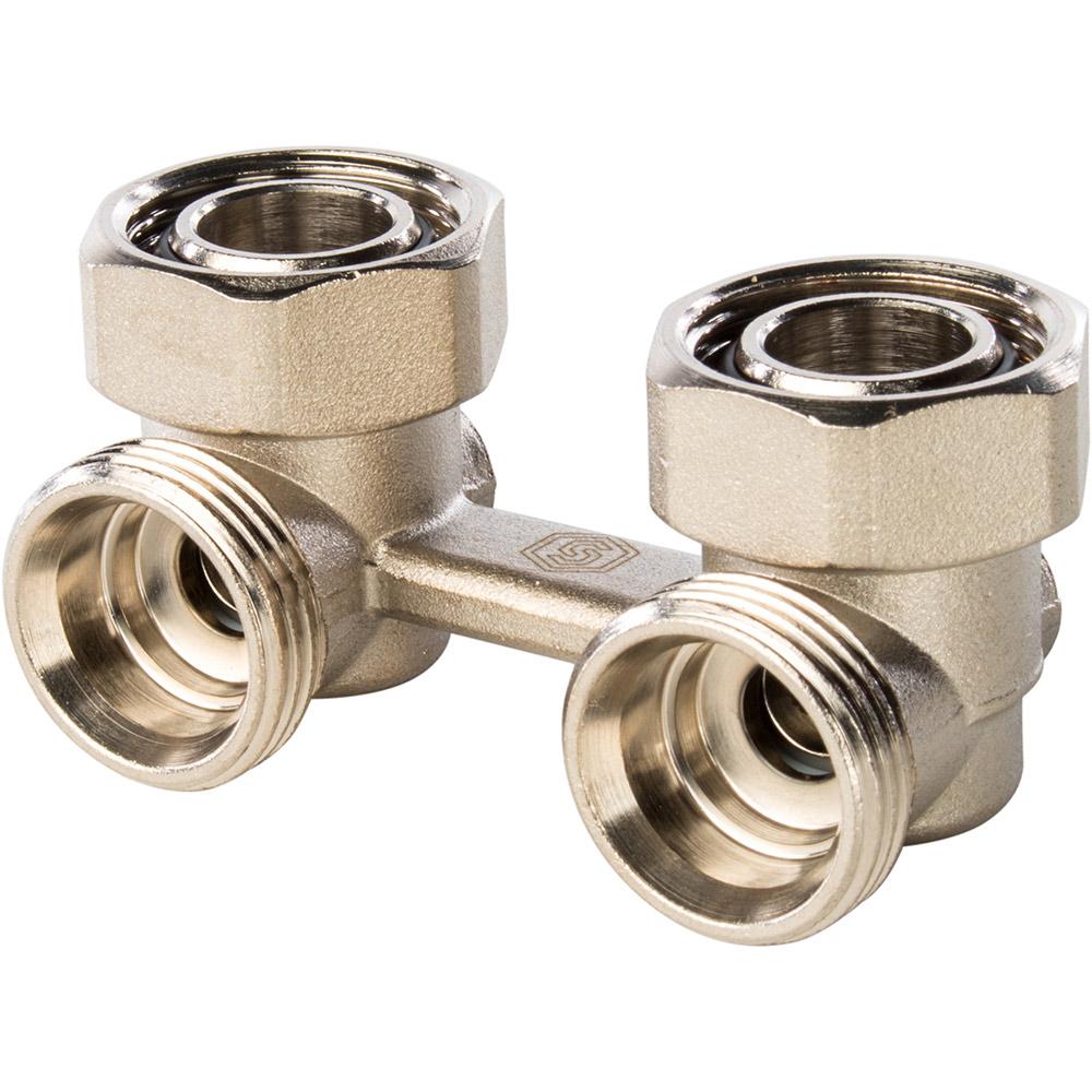 Узел нижнего подключения радиатора для двухтрубной системы, угловой  3/4'' STOUT клапан для радиатора запорный прямой н образный ростерм для двухтрубной системы отопления 1 2