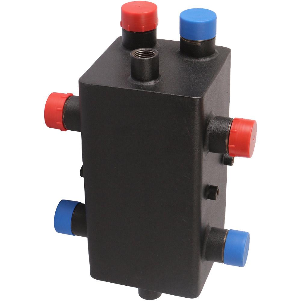 Коллектор распределительный стальной Rommer (RDG-0018-004002) 1 НР(ш) 2 отопительных контура с гидравлическим разделителем KVs 3,63