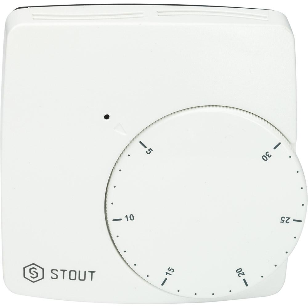 Термостат комнатный электронный проводной WFHT-BASIC со светодиодом (норм. закр.) STOUT stout термостат комнатный электронный belux digital