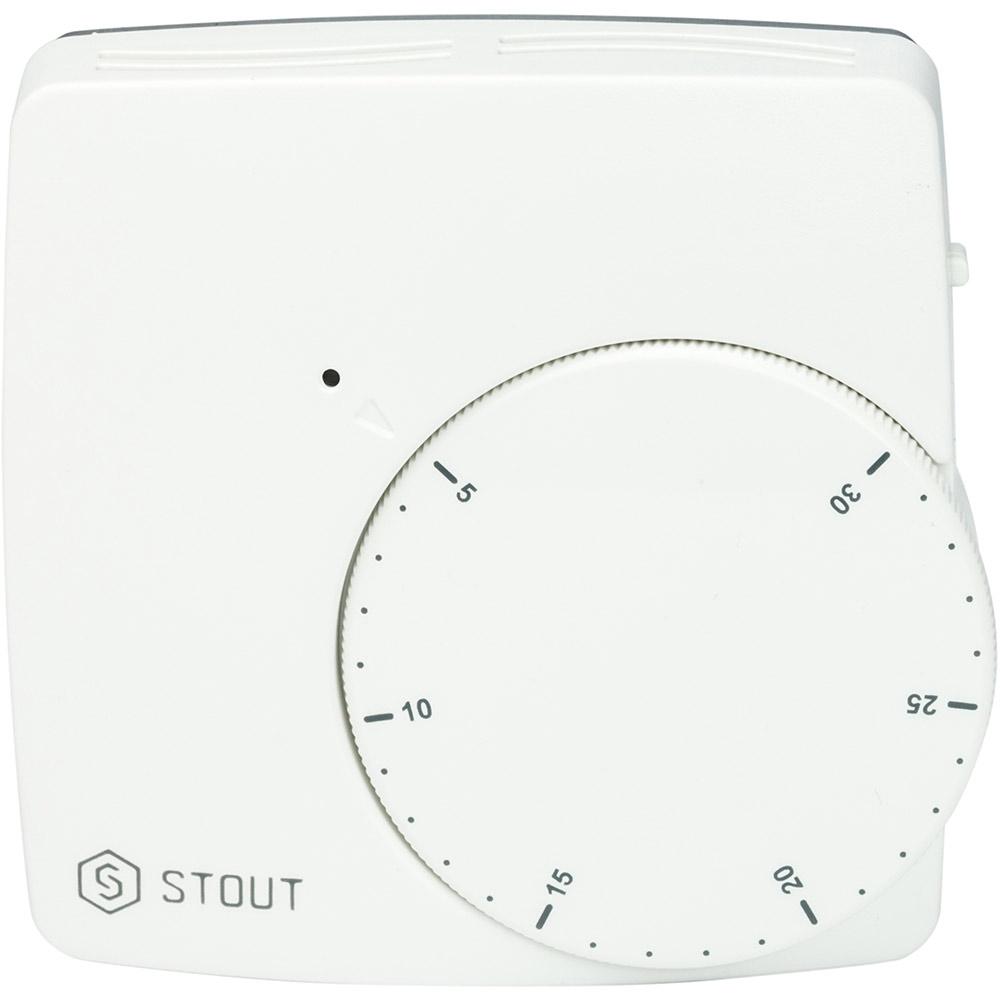 Термостат комнатный электронный проводной WFHT-DUAL с датчиком «в пол» L=3 м STOUT stout термостат комнатный электронный belux digital
