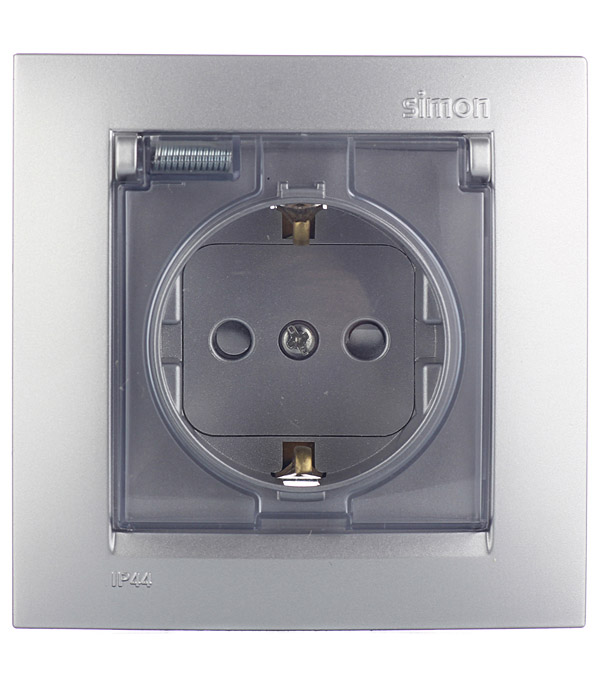 Розетка 2Р+Е Schuko моноблок, со шторками с крышкой IP44 16А 250В винтовой зажим алюминий Simon 15 трехместная розетка с заглушками каучук tdm 2р ре 16а 250в ip44 sq0612 0008