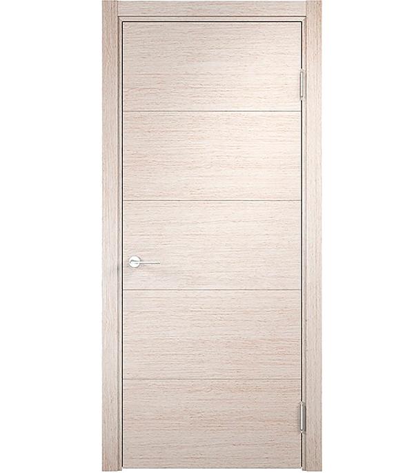 Дверное полотно Verda Турин мод.01 дуб бежевый глухое экошпон 700x2000 мм ручка защелка punto 6020 mab p