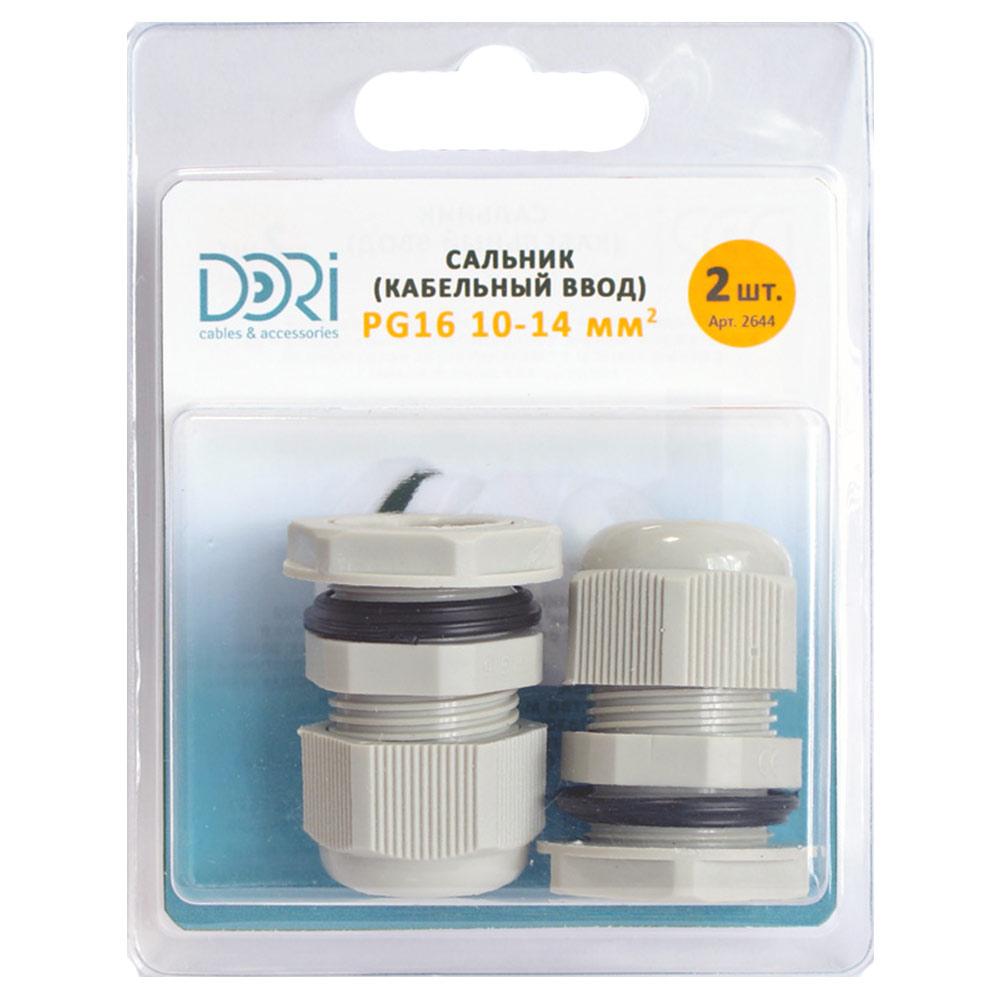 Сальник DORI PG 16 для кабеля диаметром 10-14 мм пластиковый IP54 серый (2 шт.) фото