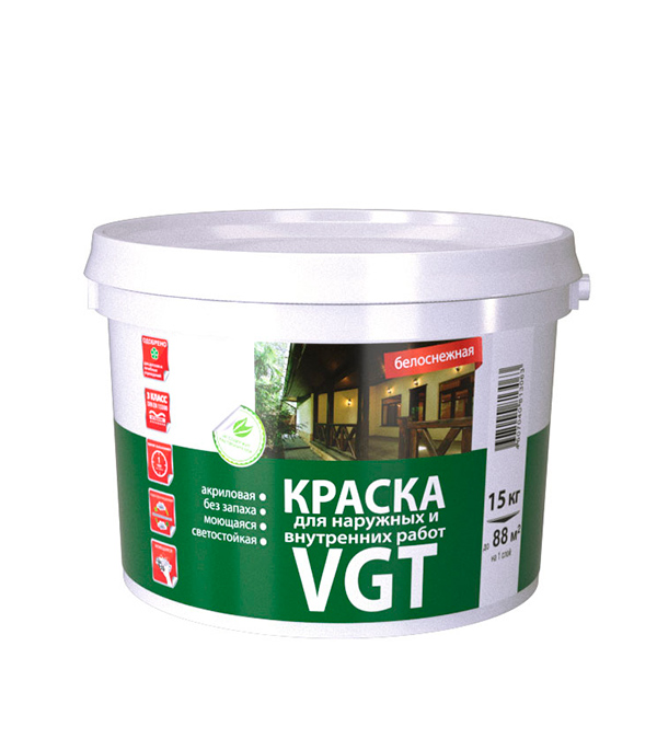 Краска в/д VGT моющаяся белоснежная матовая 15 кг краска в д интерьерная моющаяся основа а матовая vgt 4 л 6 кг