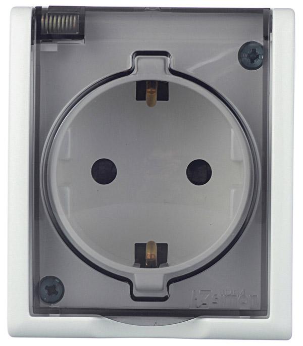 Розетка с заземлением Schuko со шторками с крышкой IP54 16А 250В S15 Aqua, белый розетка abb bjb basic 55 шале 2 разъема с заземлением моноблок цвет белый