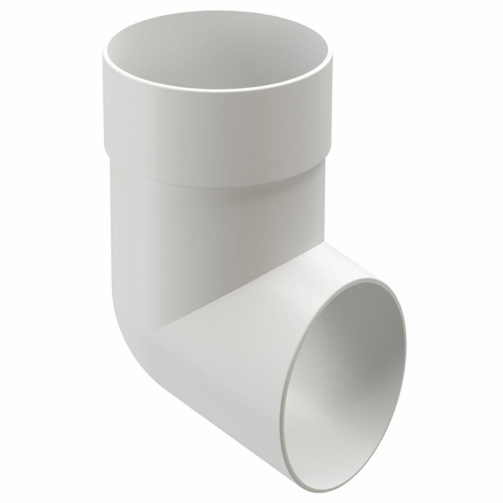 Колено стока пластиковый слив трубы Docke Standart d80 мм пломбир RAL 9003 цена