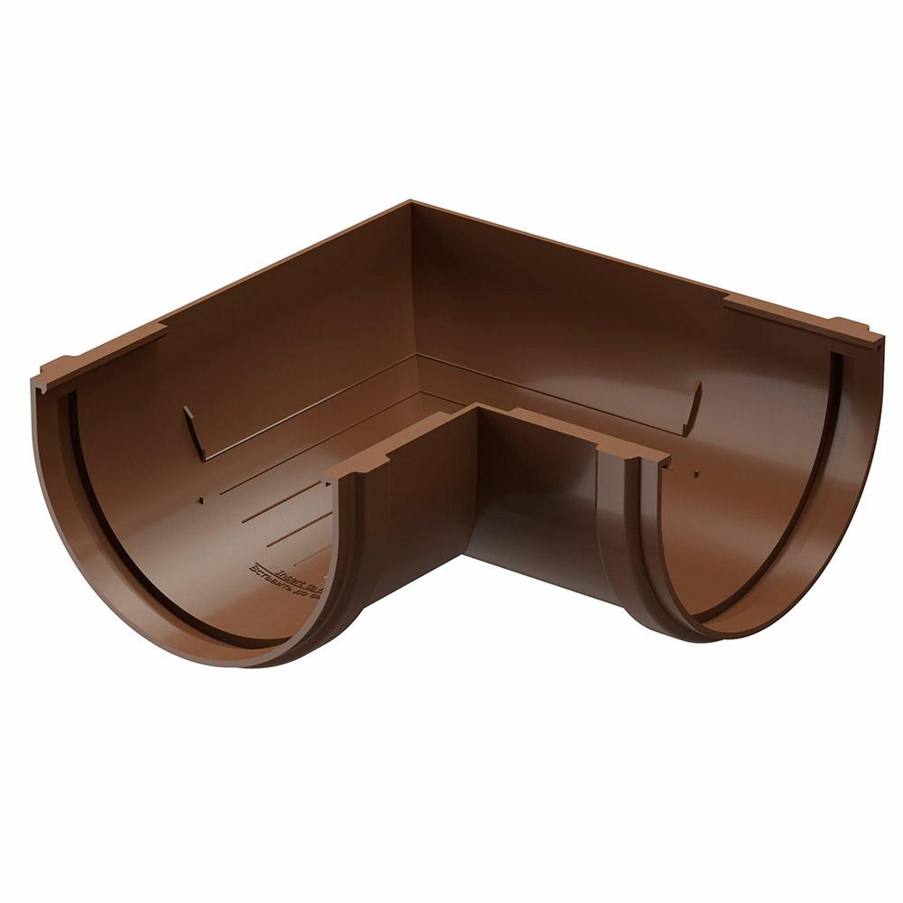 цена на Угол желоба пластиковый Docke Standart d120 мм 90° коричневый RAL 8017