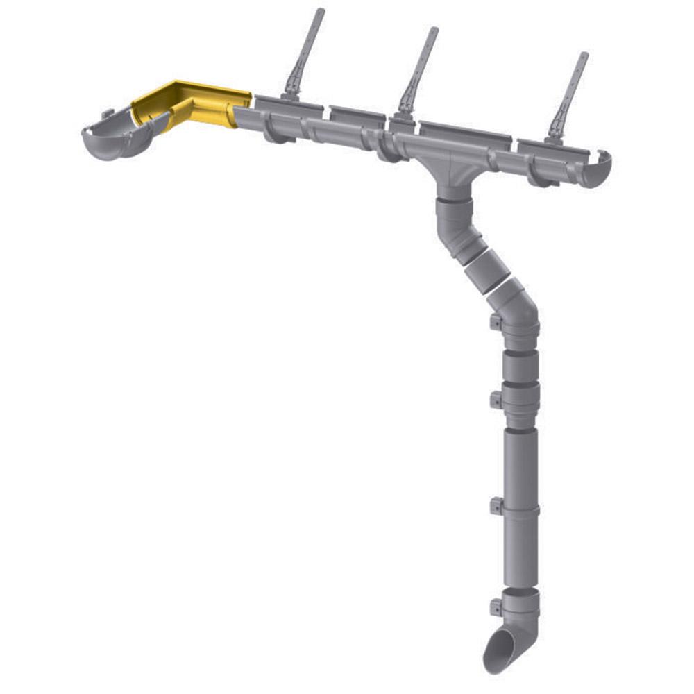 Угол желоба пластиковый Docke Premium d120 мм 90° каштан RAL 8017