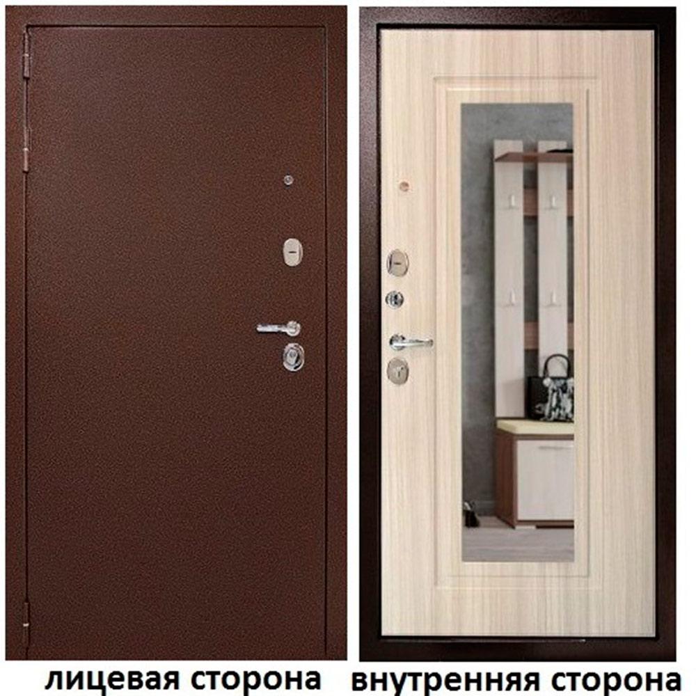 Дверь входная Дверной континент Гарант 1 левая медный антик - белый сандал с зеркалом 960х2050 мм