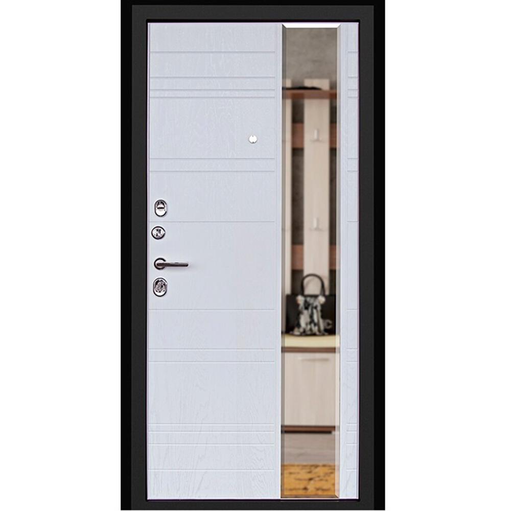 Дверь входная Дверной континент Новелло левая графит - альберо-браш с зеркалом 860х2050 мм фото