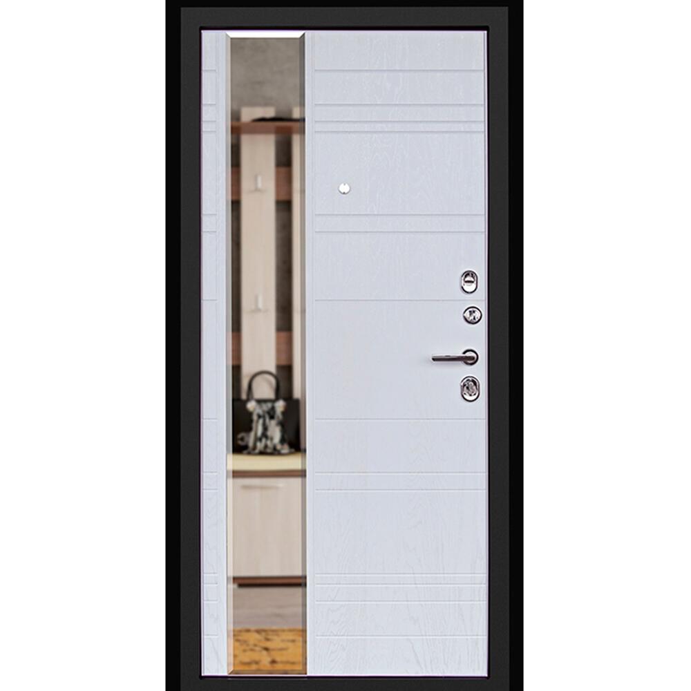 Дверь входная Дверной континент Новелло правая графит - альберо-браш с зеркалом 960х2050 мм