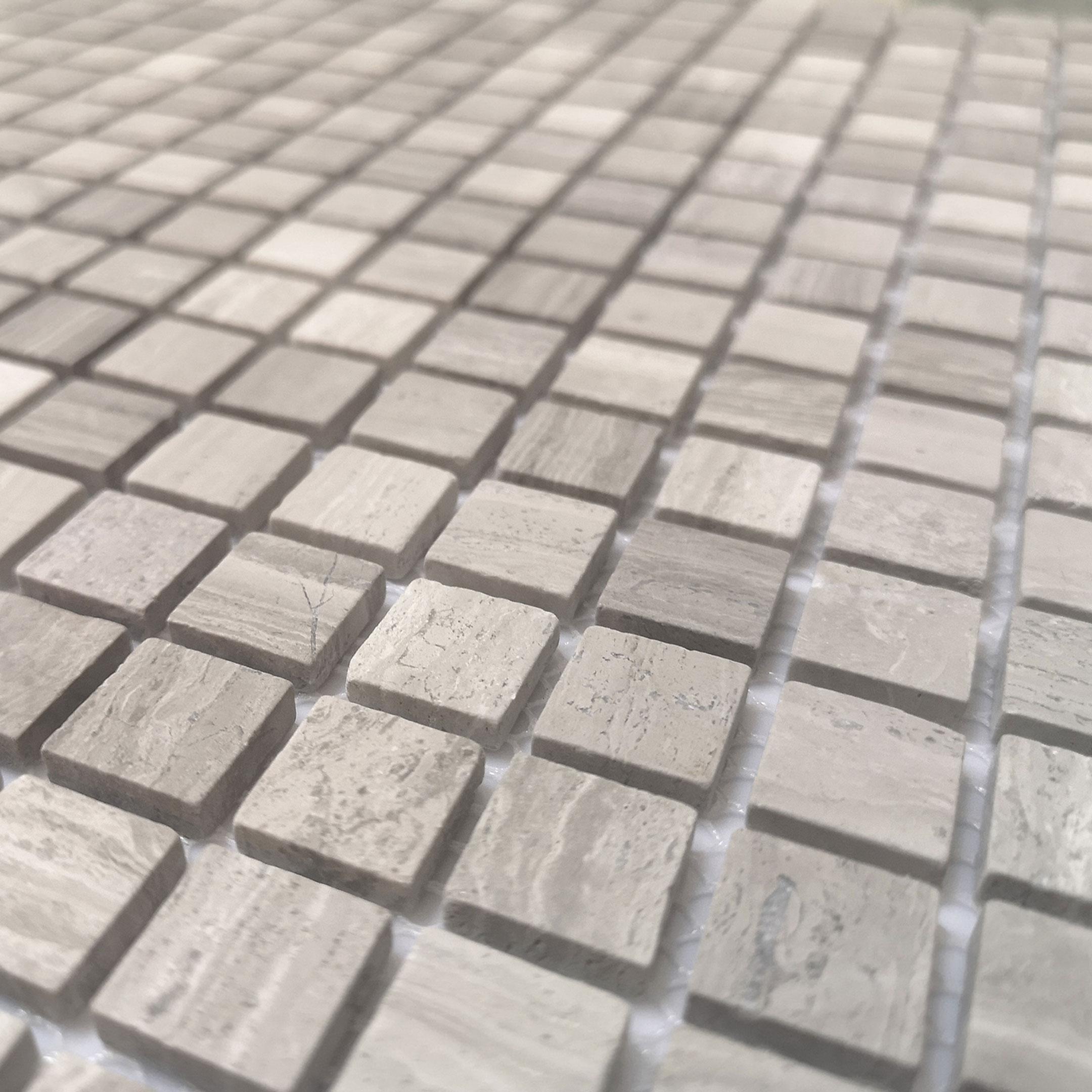 Мозаика Caramelle Travertino Silver песочный мрамор из натурального камня 305х305х4 мм матовая
