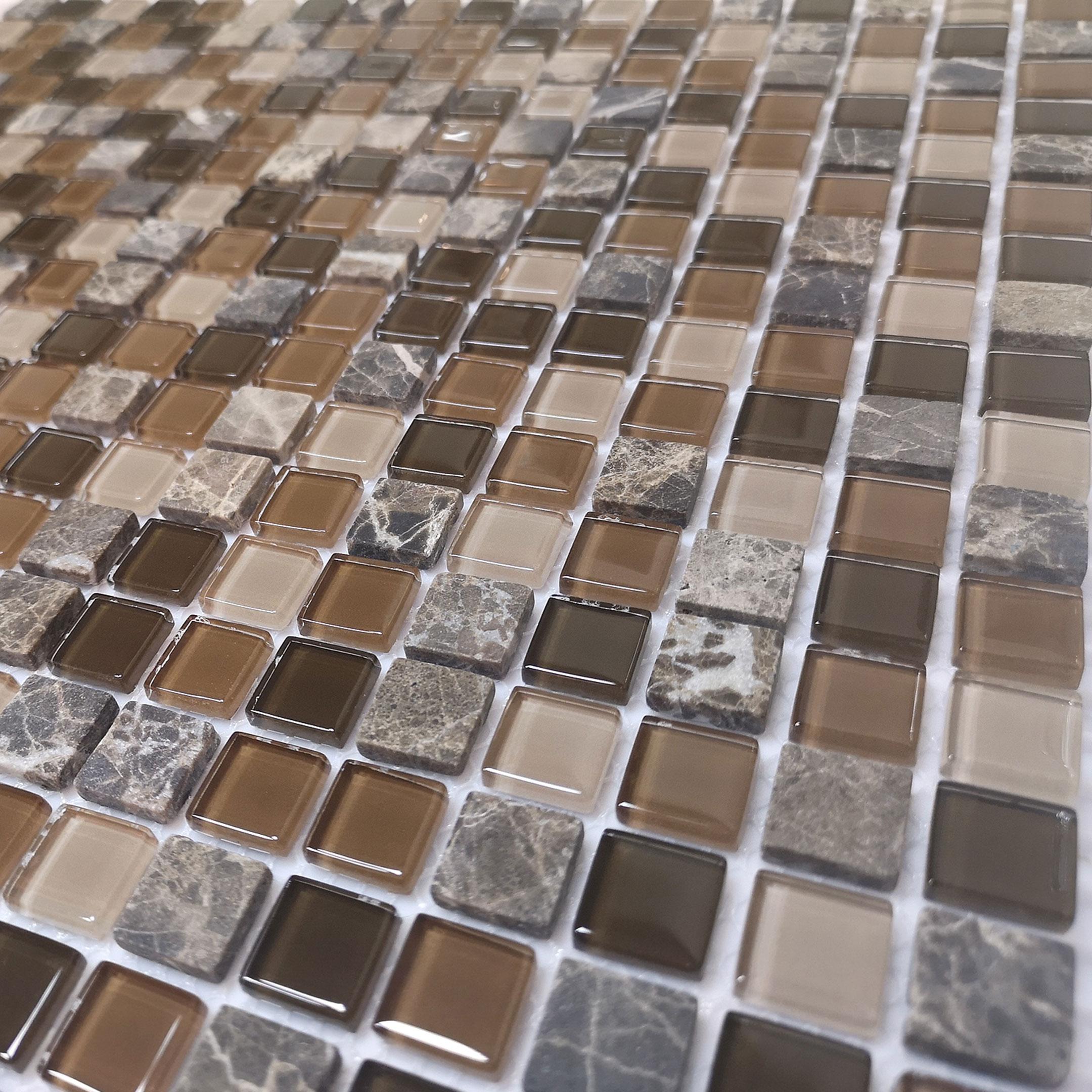 Мозаика Caramelle Andorra микс с мрамором из стекла и камня 305х305х4 мм