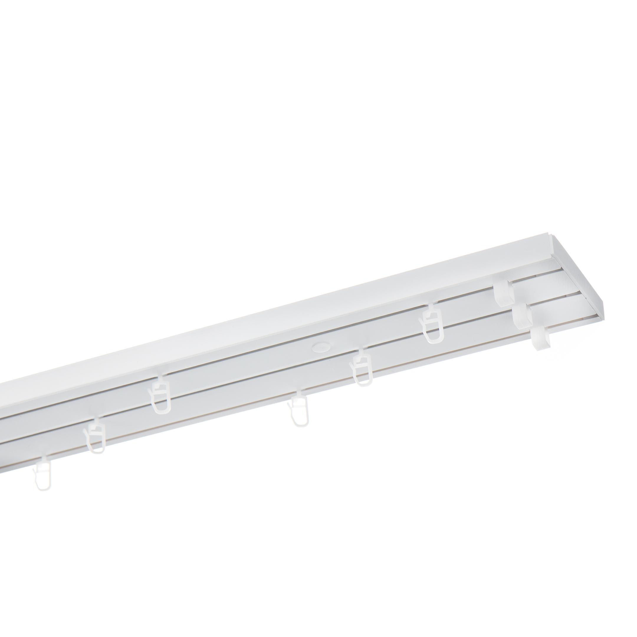 Фото - Карниз потолочный пластмассовый трехрядный 220 см белый карниз потолочный пластиковый dda поворот греция трехрядный краке 3 6