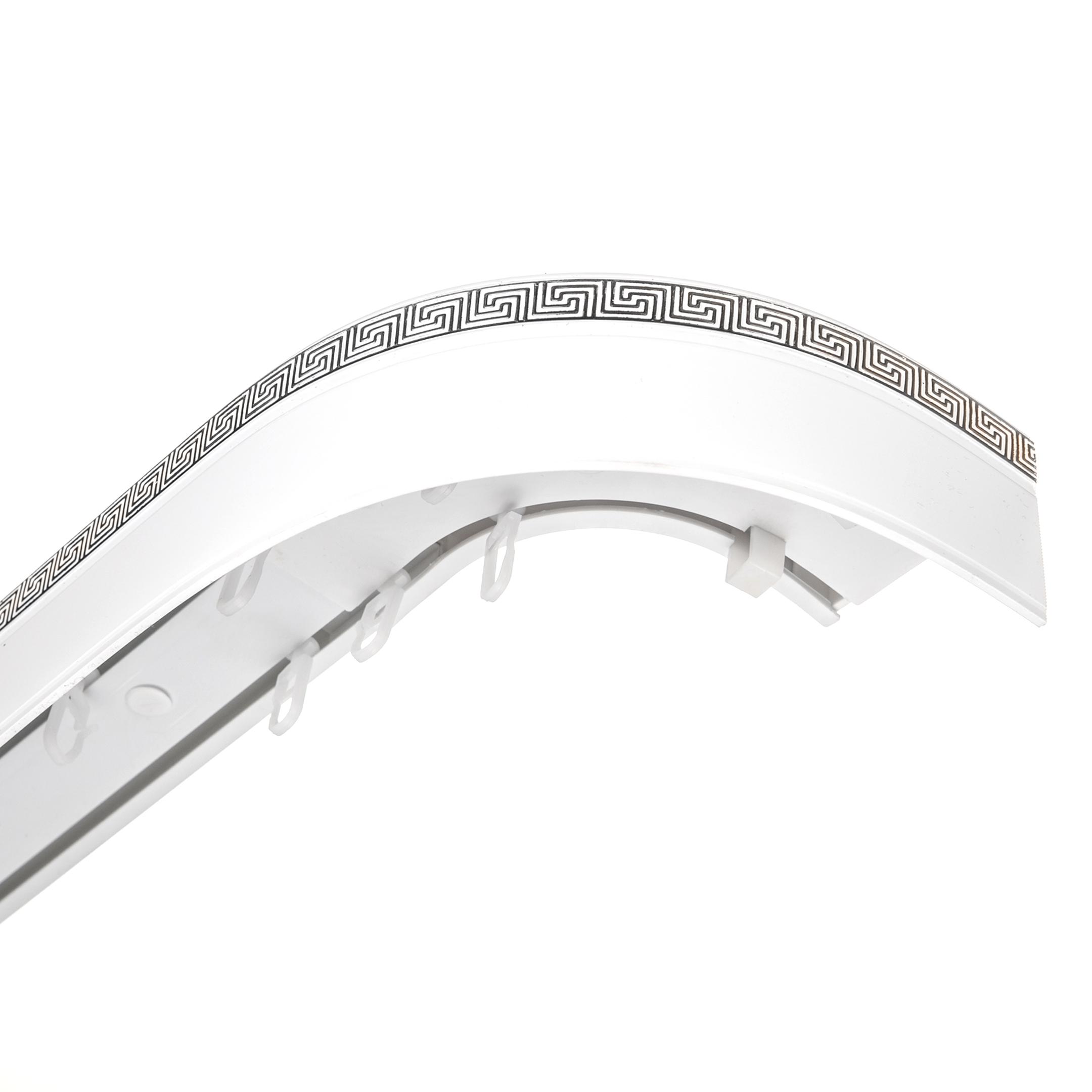 Карниз потолочный пластмассовый двухрядный с блендой 280 см ариадна белый/хром