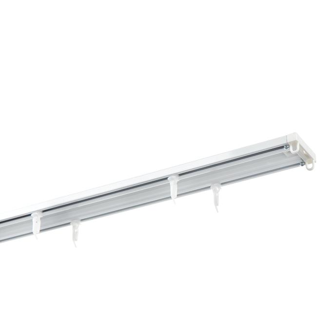 Карниз потолочный алюминиевый двухрядный 200 см белый