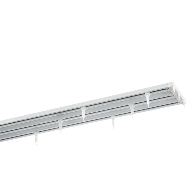Карниз потолочный алюминиевый трехрядный 300 см белый