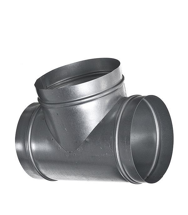 Купить Тройник для круглых воздуховодов оцинкованный d150 мм 90°, Вентс, Хром, Оцинкованный