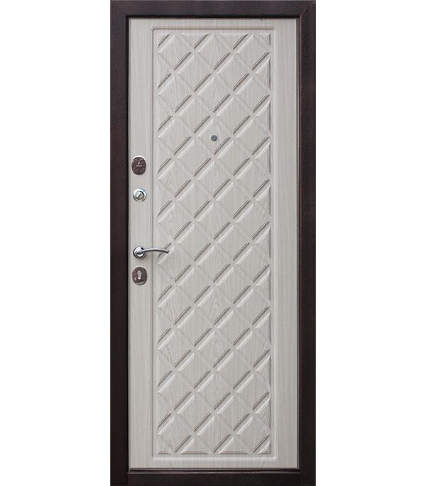 Дверь входная Kamelot левая вишня темная - беленый дуб 960х2050 мм
