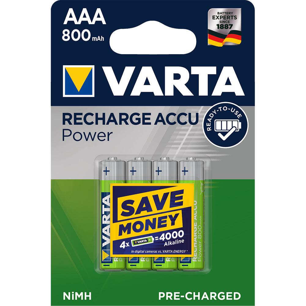 Аккумулятор VARTA AAA мизинчиковый LR03 1,2 В 800 мАч (4 шт.)