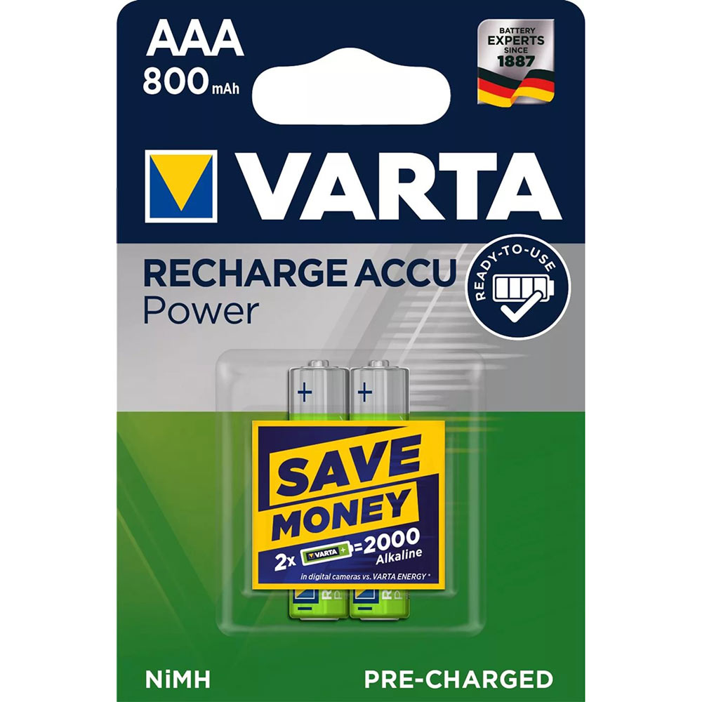 Аккумулятор VARTA AAA мизинчиковый LR03 1,2 В 800 мАч (2 шт.)