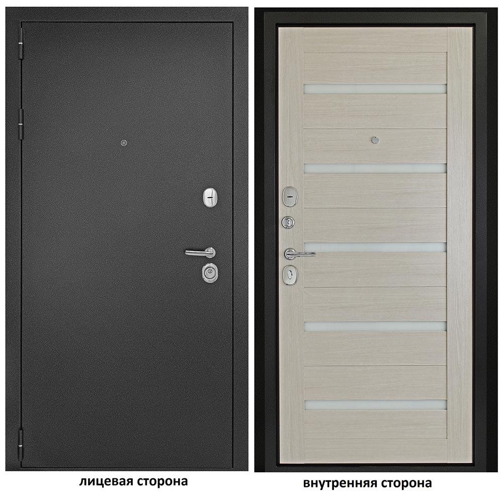 Дверь входная Дверной континент Гарант 1 царга левая антик серебристый - лиственница белая 860х2050 мм