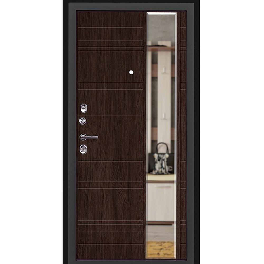 Дверь входная Дверной континент Новелло левая графит - венге поперечный с зеркалом 960х2050 мм