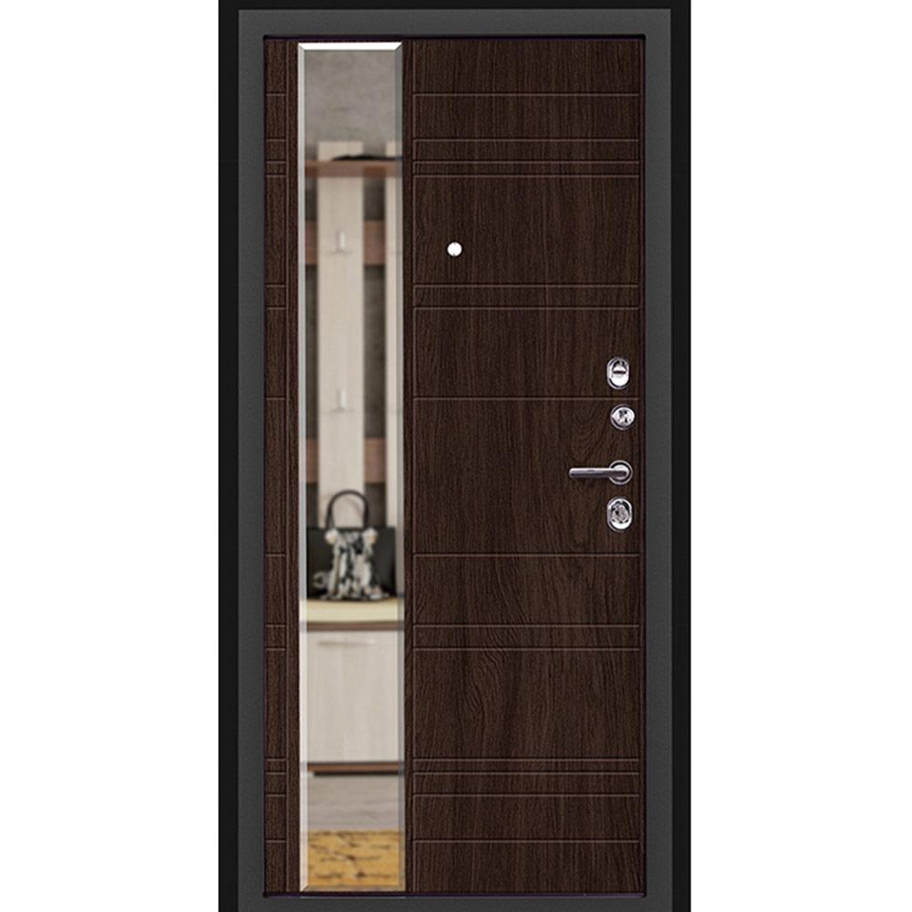 Дверь входная Дверной континент Новелло правая графит - венге поперечный с зеркалом 860х2050 мм
