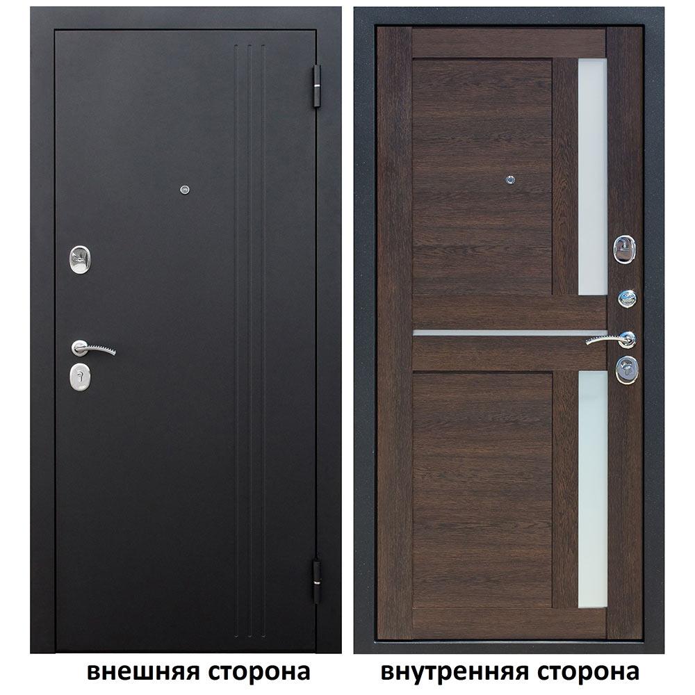 Дверь входная Нью-Йорк 7,5 правая черный муар - каштан мускат 860х2050 мм