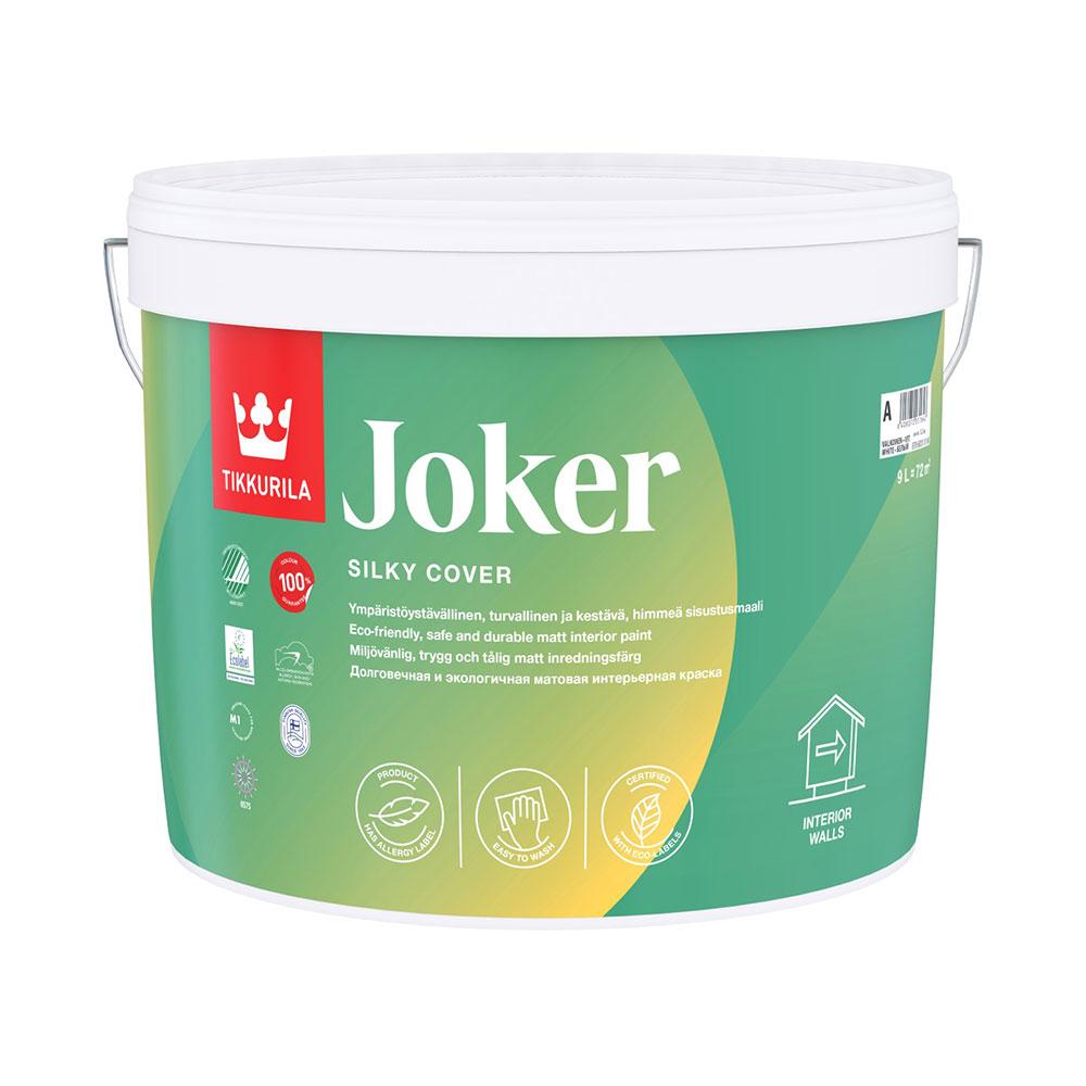 Краска водно-дисперсионная Tikkurila Joker моющаяся белая основа А 9 л