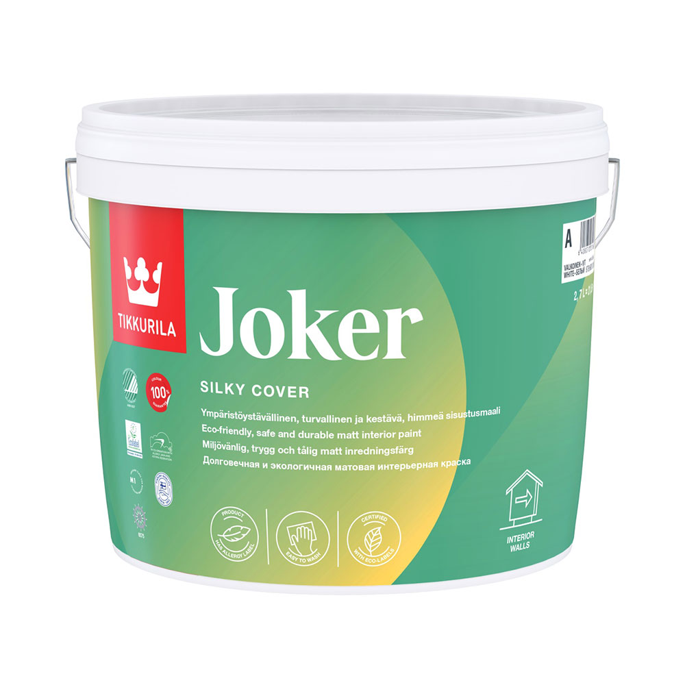 Краска водно-дисперсионная Tikkurila Joker моющаяся белая основа А 2,7 л