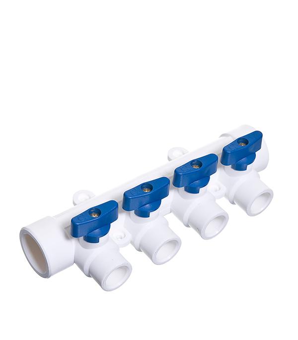 Коллектор полипропиленовый Tebo 32х4 отвода 20х32 мм с шаровыми кранами синие ручки