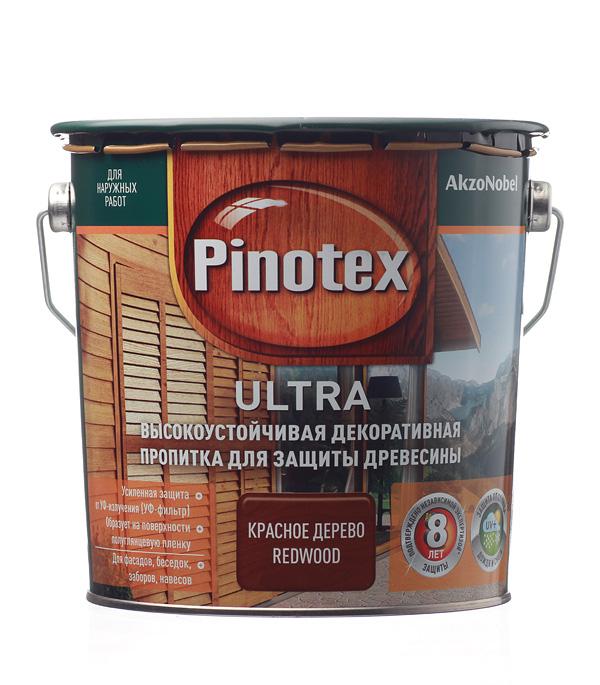 Декоративно-защитная пропитка для древесины Pinotex Ultra красное дерево-махагон 2.7 л