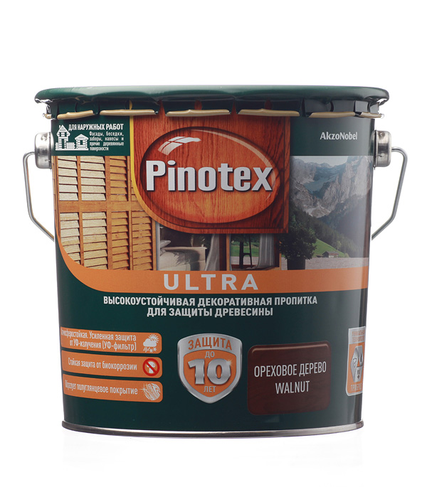 Декоративно-защитная пропитка для древесины Pinotex Ultra орех 2.7 л