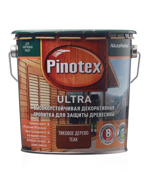 Декоративно-защитная пропитка для древесины Pinotex Ultra тик 2.7 л