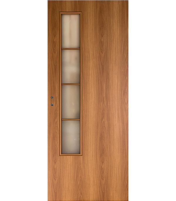 цены Дверное полотно экошпон Верда 05 Миланский орех 8М 700х2000 мм со стеклом без притвора