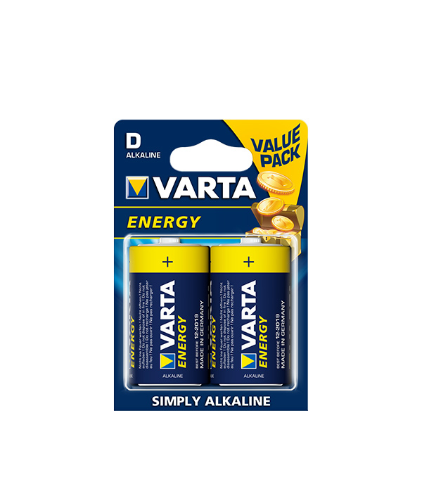 Батарейка VARTA LR20 1.5V (D) (2 шт.) батарейка d varta superlife 2020 r20 2 штуки 01241