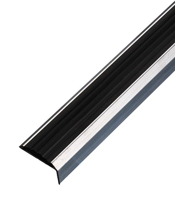 цена на Порог для кромок ступеней 37,5х23х1800 мм с резиновой вставкой Без покрытия