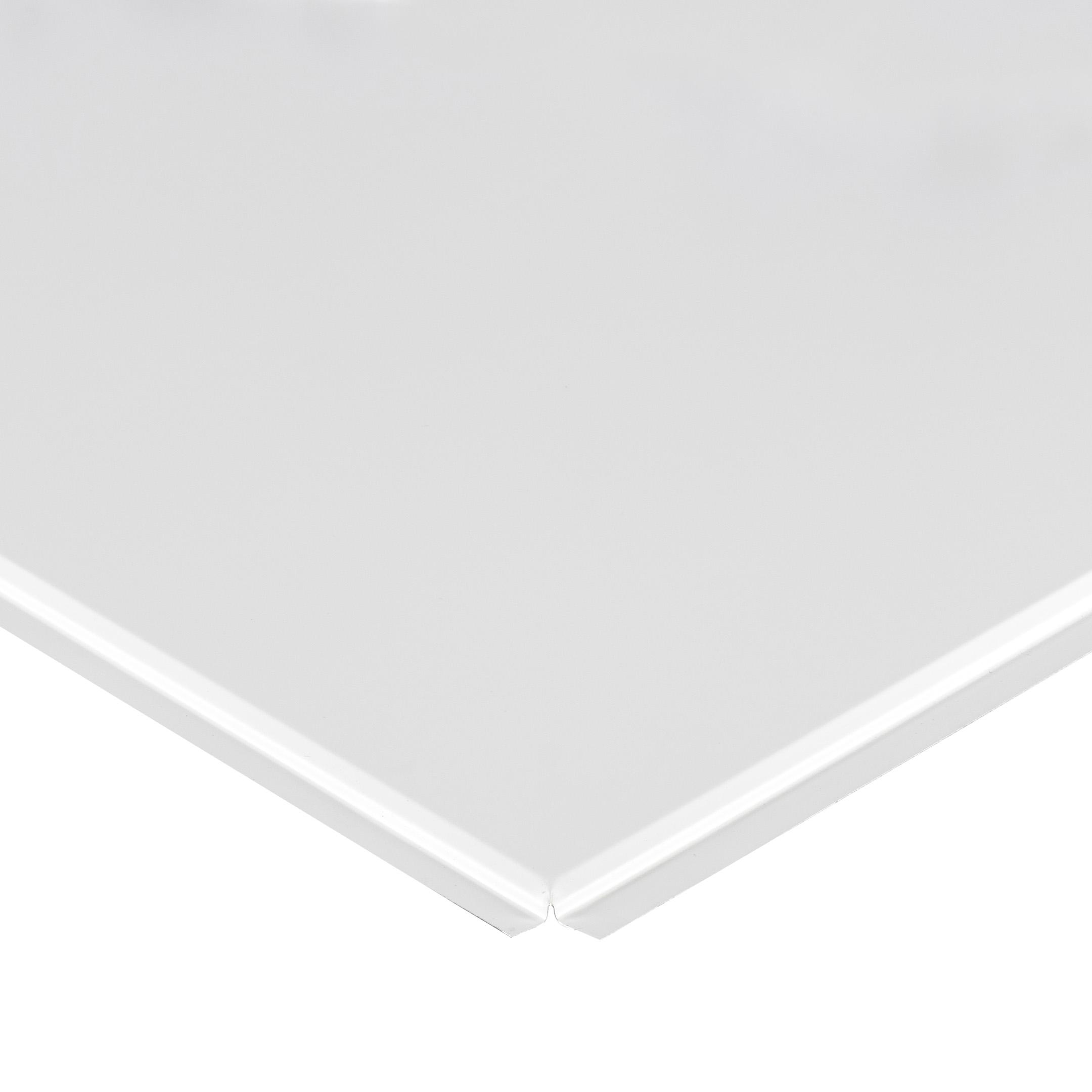 Плита к подвесному потолку кассетная алюминиевая 600х600 мм Албес Tegular Эконом белая матовая