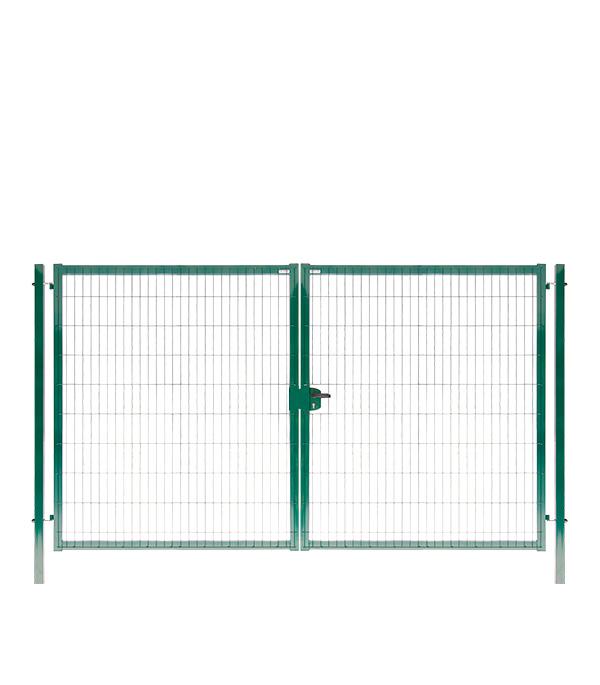 Ворота распашные GrandLine 2030x3500 мм ячейка 55х200 мм зеленый RAL 6005